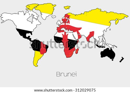 A Flag Illustration inside the shape of a world map of the country of  Brunei - stock photo