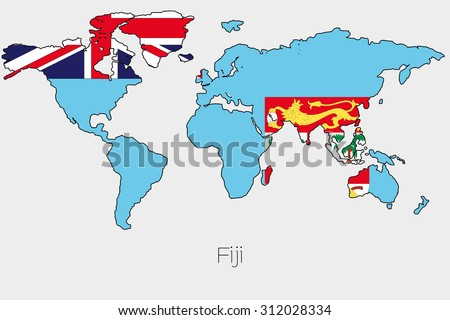 Flag illustration inside shape world map stock illustration a flag illustration inside the shape of a world map of the country of fiji gumiabroncs