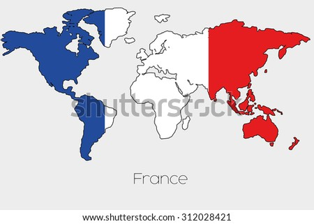Flag illustration inside shape world map stock illustration a flag illustration inside the shape of a world map of the country of france gumiabroncs Images