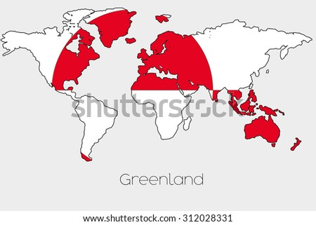 Flag greenland outline world stock vector 191951906 shutterstock a flag illustration inside the shape of a world map of the country of greenland gumiabroncs Choice Image