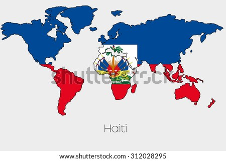 A Flag Illustration inside the shape of a world map of the country of  Haiti