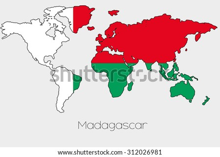 Flag illustration inside shape world map stock illustration a flag illustration inside the shape of a world map of the country of madagascar gumiabroncs Gallery