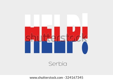 A Flag Illustration inside the word Help of the country of Serbia