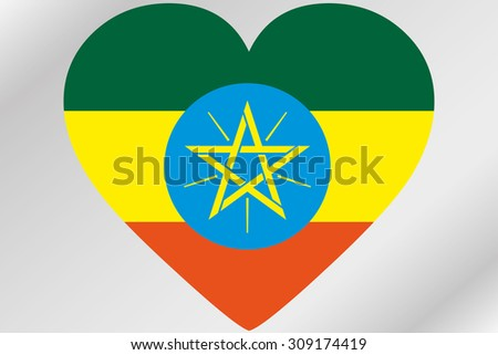 A Flag Illustration of a heart with the flag of  Ethiopia