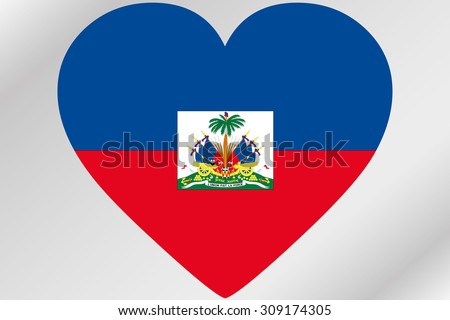 A Flag Illustration of a heart with the flag of  Haiti