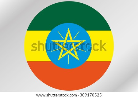 A Flag Illustration within a circle of the country of  Ethiopia