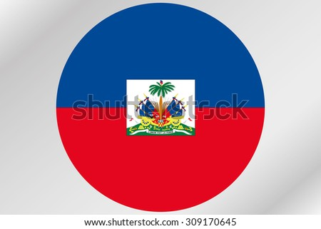 A Flag Illustration within a circle of the country of  Haiti