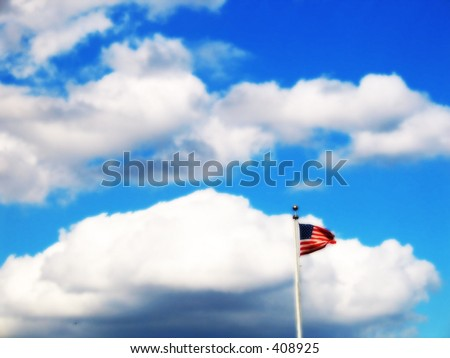 a flag in the sky - stock photo
