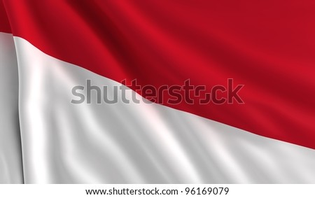 A flag of Indonesia in the wind