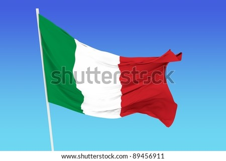 A flag of Italy in the wind
