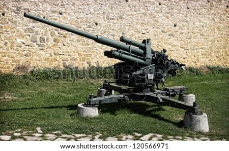 A Flak 38 105 mm anti-aircraft gun at a Military museum in Belgrade - stock photo