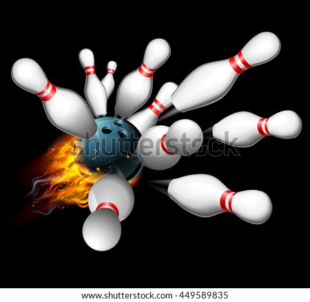 Blue Bowling Ball Flames On Dark Stock Vector 310733492