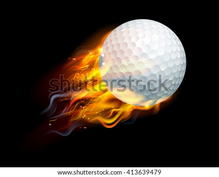 A flaming golf ball on fire flying through the air - stock photo