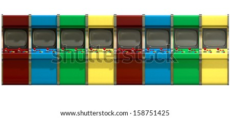 A flat row of vintage unbranded arcade games with joysticks and various colored buttons and a blank screen on an isolated white background - stock photo