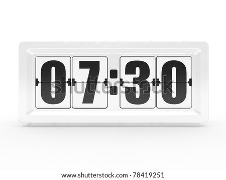 A flip clock on a white background - stock photo