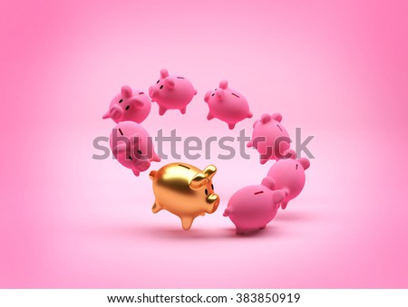 A floating circle of piggy banks - with a standout gold one. Illustration. - stock photo