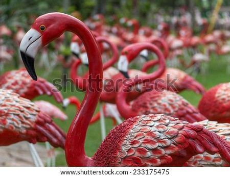 A flock of flamingos in the Park Nong Nooch, Thailand