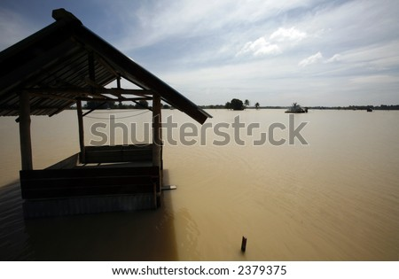 A flooded field. - stock photo