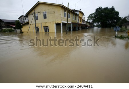 A flooded town.