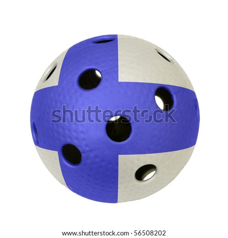 A floorball ball with flag of Finland. - stock photo