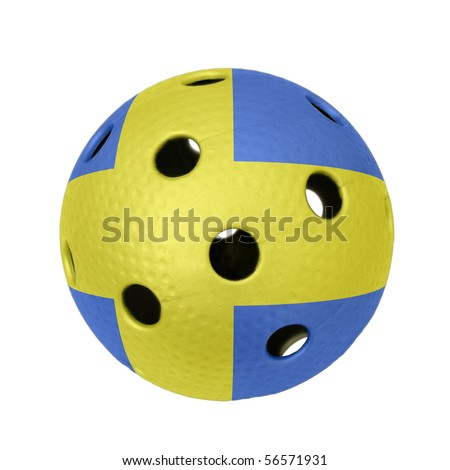 A floorball ball with flag of Sweden. - stock photo