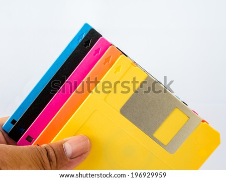 A floppy disk, or diskette, is a disk storage medium composed of a disk of thin and flexible magnetic storage medium - stock photo
