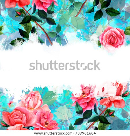 Floral background watercolor drawings rose flowers stock a floral background with watercolor drawings of rose flowers and butterflies on a teal texture mightylinksfo