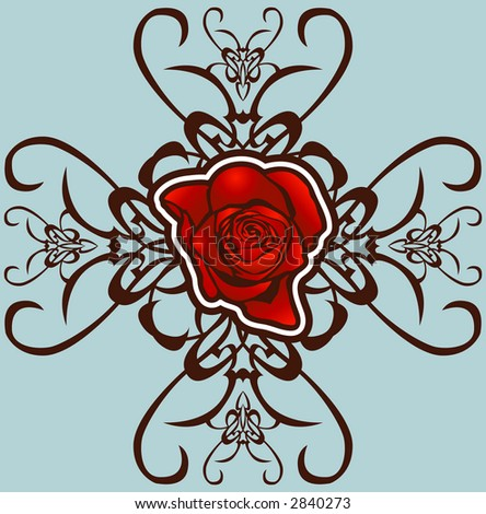 A floral design element. Raster version - stock photo
