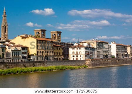 A Florence view with the river Arno  - stock photo