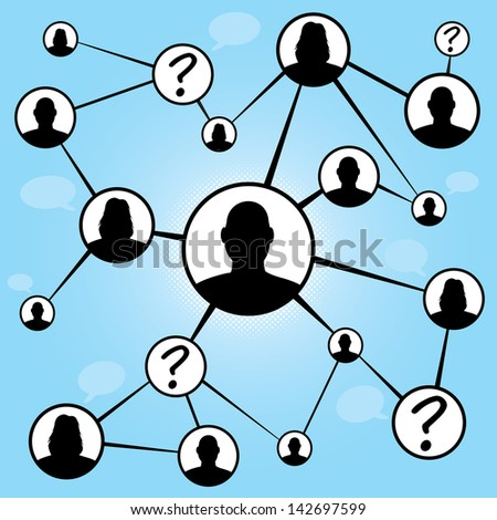 A flow chart diagram of different men and women connecting together via social media or social networking.  Great for word of mouth referral marketing or online dating concepts. - stock photo