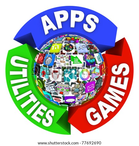 A flowchart diagram of tiles showing applications in a sphere pattern, surrounded by arrows reading Apps, Utilities and Games - stock photo