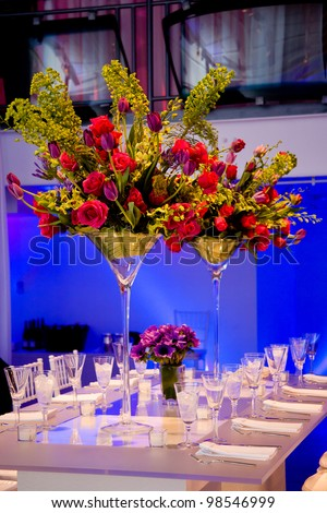 A flower arrangement on a wedding table. This is a big bouquet!