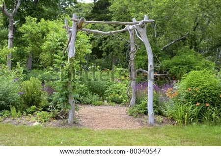 A flower garden on the island of Martha's Vineyard. - stock photo
