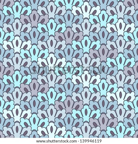 A flower-like scale pattern seamless background tile in pale blue and lavender. Raster Version.