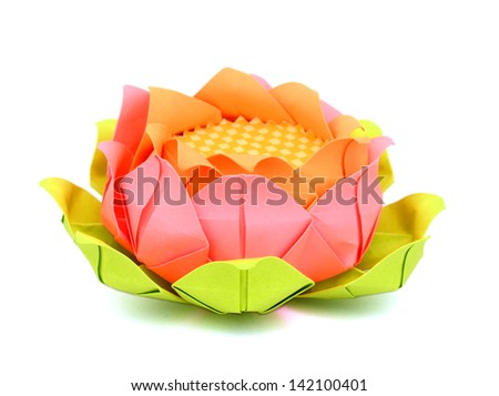 A flower lotus paper on white - stock photo