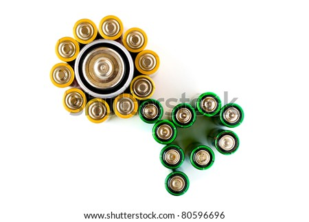 A flower made from AA batteries isolated on the white background - stock photo