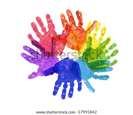 a flower made out of childrens hand prints in rainbow colors - stock photo