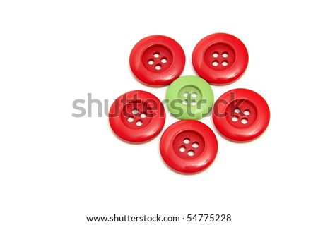 a flower made with buttons isolated on a white background
