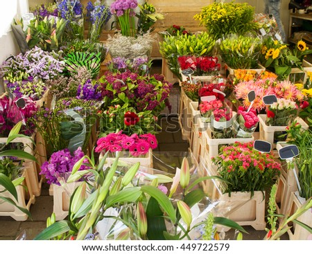 A flower shop, seen in Amsterdam, Netherlands. Beautiful colorful flowers outdoor