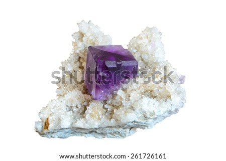 A fluorite specimen on quartz matrix.  - stock photo