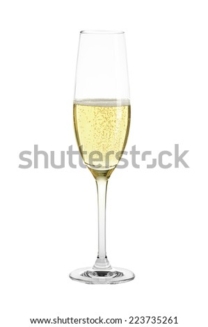 A flute glass of Champagne against a white background.