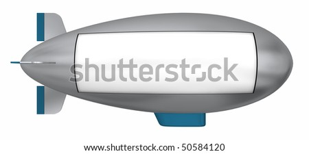 A flying dirigible sign board ready to be customized. Isolated on white - stock photo