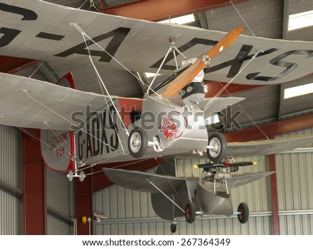 A Flying Flea classic homebuilt aircraft in the hangar at Breighton airfield,Yorkshire,UK.taken 01/06/2014 - stock photo
