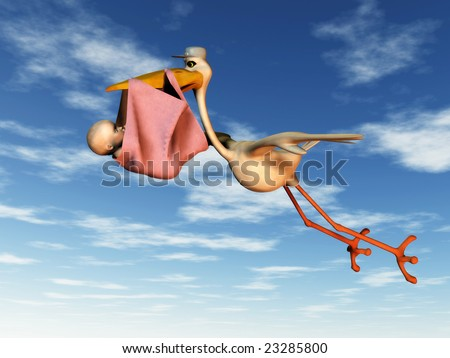A flying stork holding a baby in a blanket in its beak.