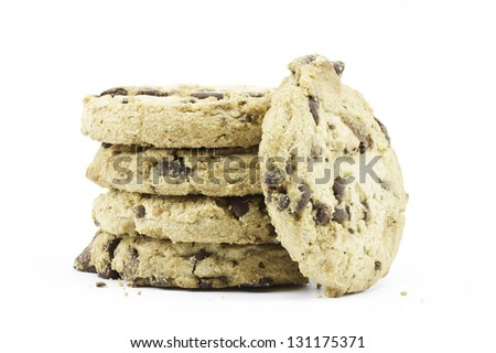 A focus-stacked image of 5 cookies against a white background - stock photo