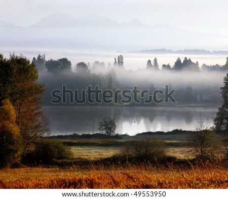 A fog city view in deer lake Vancouver. - stock photo