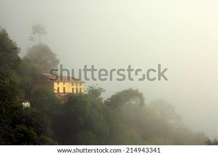 A foggy morning at Nagarkot, Nepal - stock photo