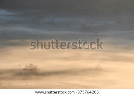 A foggy morning in a top mountain landscape -  Background, Landscape - stock photo