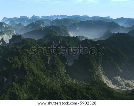 A foggy mountain scene with nice valleys - stock photo