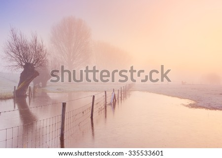 A foggy sunrise in winter along the River Lek in The Netherlands. - stock photo